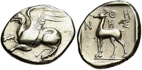 Крылатый грифон на древнегреческой драхме. 450-400 г.г. до н.э.