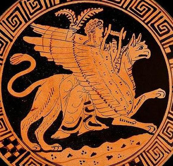 Аполлон на крылатом грифоне летит в Гиперборею
