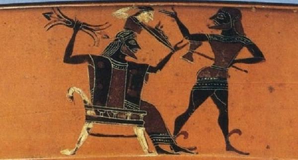 рождение Афины из головы Зевса, в руках Зевса ваджра. — 550 г до н.э.