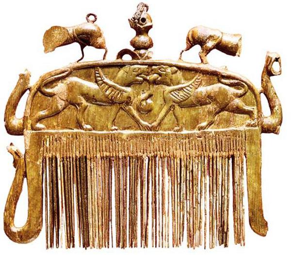 золот.гребень со сфинксами-Этруски, VII века до н.э.