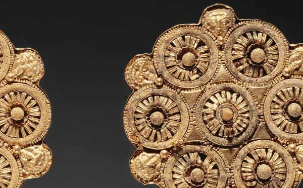 золот. дисковые серьги из Цере, запад-этрурия, 500 до н.э.