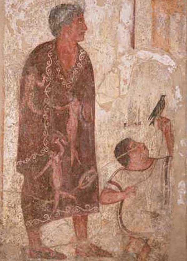 фреска-Курган Франсуа -Tomba François-ласточка на верёв- IV веке до н.э