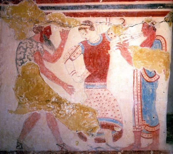 фреска-маска бородатого перса-танцовщица и музыкант- 5 в. до н.э.