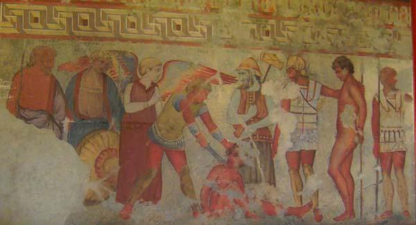 фреска-Vanth с крыльями и Charún с секирой.