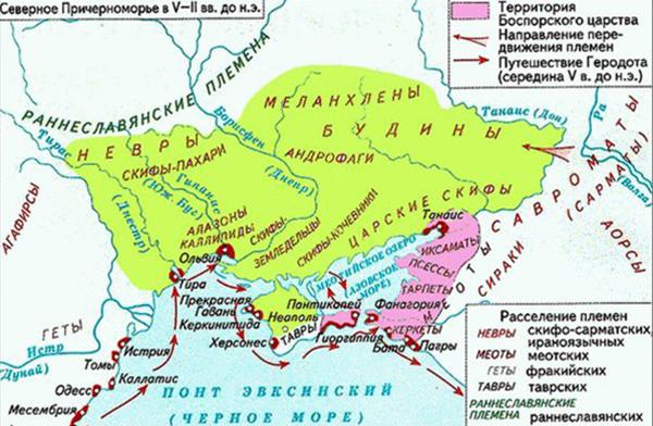 Маршрут на карте древнегреческого путешественника геродота